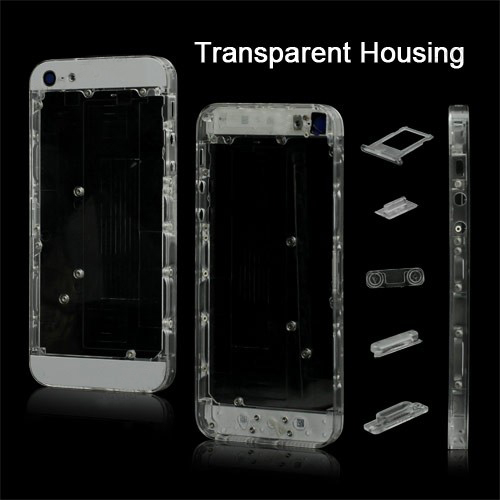 for iPhone 5 Plastic Back Cover Faceplates w/ Side Buttons SIM Card Tray - White / Transparent