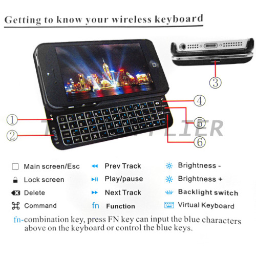 for iPhone 5 Slide Bluetooth Qwerty Keyboard Case -White