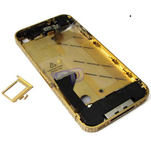 for iPhone 4S Middle frame Midframe Full assembly-Gold with Diamond
