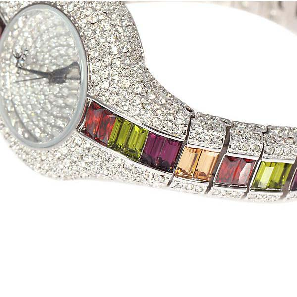 Smays Colorful Zircon Material Australia Crystal Mirror Surface Silver Copper Watchband Ladies