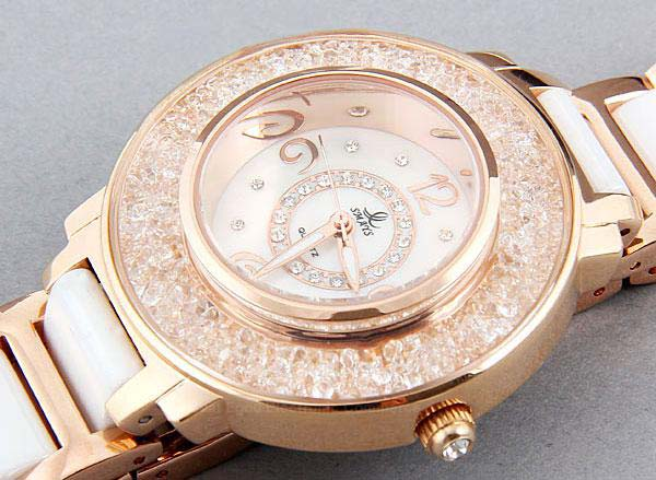 Smays Golden Zircon Material Crystal Mirror Surface Steel & Ceramic Watchband Fashion Lady Watch