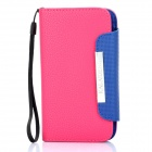 KALAIDENG Protective PU Leather Flip-Open Case for HTC G21/X315e -Deep Pink +Blue