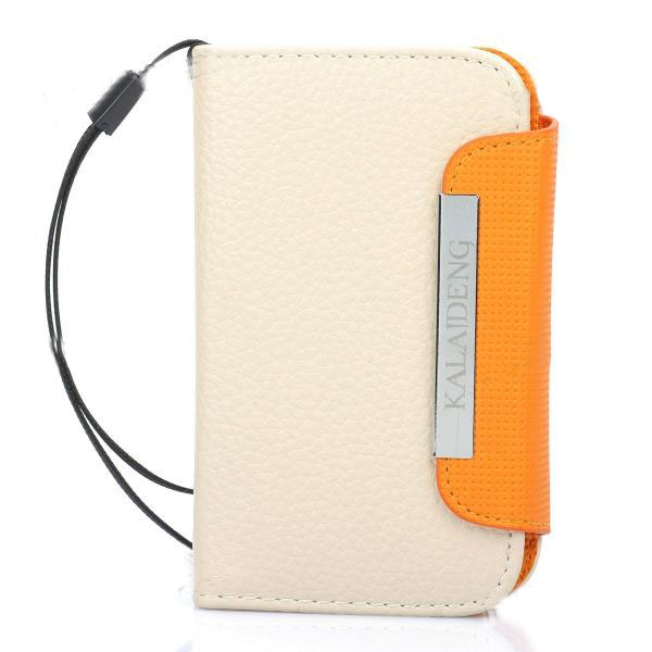 KALAIDENG Protective PU Leather Flip-Open Case for Samsung S5368 -Beige +Orange