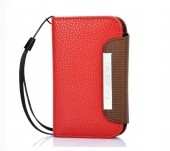 KALAIDENG Protective PU Leather Flip-Open Case for Samsung S5368 - Red +Coffee